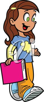 iCLIPART - Clip Art Illustration of a Happy Schoolgirl Carrying a Book #clipart #illustration #education #backtoschool