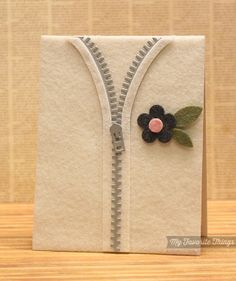 felt sweater card made with MFT Die-namics Zipper by Kimberly Crawford. #felt #cards #MFTStamps