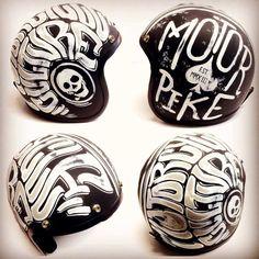 Artwork by Chiko's Pinstriping - Motorcycle Helmet Design, Cafe Racer Helmet, Motorcycle Tank, Motorcycle Style, Enduro Motorcycle, Bmw Scrambler, Blitz Motorcycles, Vintage Helmet, Retro Helmet