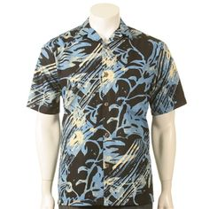 Tropical Diagonal Leaf Men's Aloha Shirt~Tall