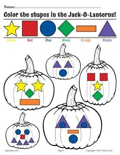 FREE Printable Preschool Pumpkin Shapes Coloring Page! This free fall shapes worksheet is great for color recognition and more. Get the free shape coloring page here --> https://www.mpmschoolsupplies.com/ideas/7385/free-printable-color-the-shapes-in-the-jack-o-lanterns-worksheet/