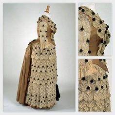 Dress ca. Embroidery on machine-made tulle, silk. 1880s Fashion, Victorian Fashion, Victorian Dresses, Vintage Dresses, Vintage Outfits, Vintage Fashion, Victorian Costume, Victorian Women, Antique Clothing