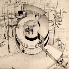 """In 1929, he won a Danish Architect's Association competition for designing the """"House of the Future"""" which was built full scale at the subsequent exhibition in Copenhagen's Forum. It was a spiral-shaped, flat-roofed house in glass and concrete, incorporating a private garage, a boat-house and a helicopter pad.  Arne Jacobsen immediately became recognized as an ultra-modern architect"""