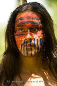 Indian warrior with war paint, Custers Last Stand Reenactment, Battle of the Little Bighorn, Crow Indian Reservation, Montana