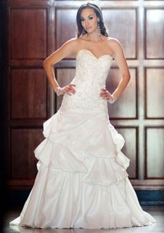 Sheath Chapel Trailing Strapless Sweetheart White Taffeta Appliqued Bodice Lace Up Back Bridal Dresses