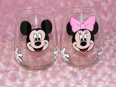 Custom Mickey and Minnie Mouse stemless wine glasses