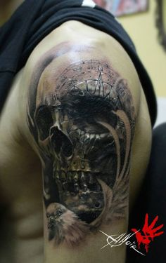 Skull With Compass Engraving http://tattooideas247.com/skull-with-compass-engraving/