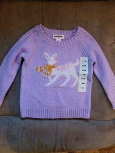 Sweaters The Childrens Place Toddler Girls Purple Lilac Cat Long Sleeve Sweater Size 3t Girls' Clothing (newborn-5t)