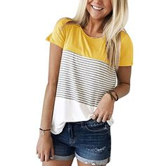 5667717d2ae 2018 Women Short Sleeve Tops Triple Color Block Stripe T-Shirt Casual  Blouse     Details can be found by clicking on the image.