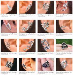 Long Garden Rose ear cuff Sterling Silver earrings by RingRingRing