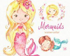 Pink Ballerina Watercolor clipart little girl ballet Watercolor Clipart, Watercolor Design, Watercolor Animals, Cute Mermaid, Vintage Mermaid, Baby Mermaid, Mermaid Art, Little Girl Ballet, 2 Clipart