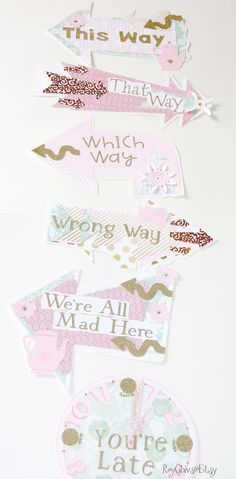 Alice In Wonderland Onederland First Birthday Arrow Signs Directions