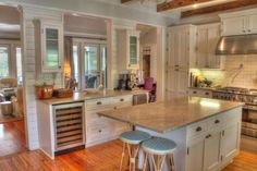 Sullivan's Island Gigi House panelling shiplap cottage details Kitchen 2 with wine refrigerator