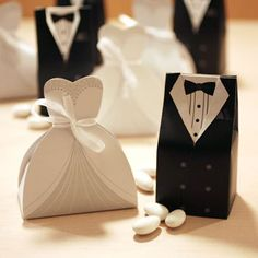 Send out your favors with unique wedding favor boxes,wedding favor boxes with ribbon and white favor box and you can have the best one-hot candy box bride groom wedding bridal favor gift boxes gown tuxedo 100 pcs = 50 pair new from beautie__factory. Wedding Favors And Gifts, Wedding Favor Boxes, Wedding Cards, Tree Wedding, Wedding Dress, Wedding Table, Wedding Decor, Wedding Reception, Ribbon Wedding