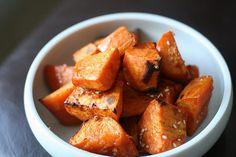 Roasted sweet potatoes with soy honey glaze