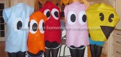 Coolest Pacman Group Costume: My friends and I had no clue what we wanted to be for Halloween, until one day the Pacman group costume idea popped into our minds.  We made our costumes