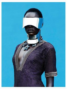Ajak Deng, Photographed by Julia Noni and Styled by Barbara Loison. #cyberpunk #africa for Obsession Magazine