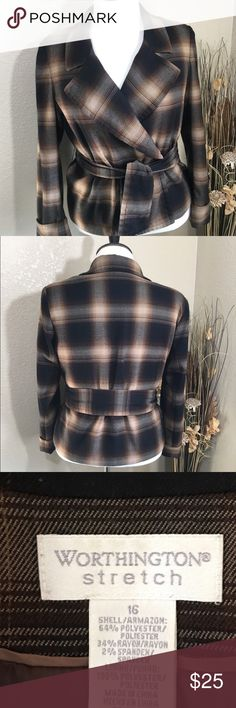 Brown and Tan Jacket 20%OFF BUNDLED Worthington stretch belted jacket. Fully lined, great for cooler days. Great pre-lived condition. Worthington Jackets & Coats