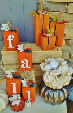 Fall decor from Lynn& Mill, Dacula, Ga Fall Wood Crafts, Thanksgiving Crafts, Holiday Crafts, Wooden Pumpkin Crafts, 4x4 Wood Crafts, Wooden Pumpkins, Fall Pumpkins, Fall Halloween, Halloween Crafts