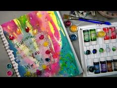 Mixed media fun: Pouring Paint & Stamping Gear tips! - YouTube