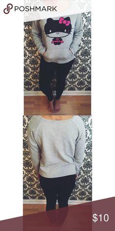 Hello Kitty Sweatshirt Grey slouchy style sweatshirt. Front pocket! Worn once, in great condition! Hello Kitty Tops Sweatshirts & Hoodies
