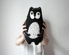 Screen Printed Cotton Bear Pillow   AIY Shop on Etsy