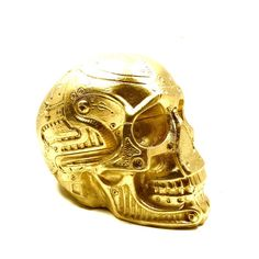 cyborg skull head, gold, robot, steampunk decor, robots, sci fi, science, skull art, skull sculpture, geek