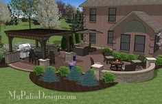 - Outdoor Entertainment Patio Design with Pergola and Bar 855 sq. - Outdoor Entertainment Patio Design with Pergola and Bar Backyard Patio Designs, Pergola Patio, Backyard Landscaping, Pergola Kits, Pergola Ideas, Back Yard Patio Ideas, Backyard Ideas, Cheap Pergola, Landscaping Ideas