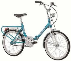 Cicli Cinzia Firenze Old Style Steel Folding Bike 20 Inches Blue White - UKsportsOutdoors Spin Bikes, Bmx Bikes, Road Bikes, Folding Electric Bike, Electric Bicycle, Bike Folding, Velo Vintage, Vintage Bicycles, Cycling Gear