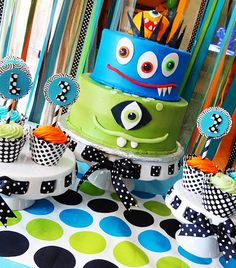 Monster tiered Cake with some fantastic extra ideas for a little boy monster themed birthday party