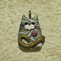 kitty cat polymer clay pendant focal bead