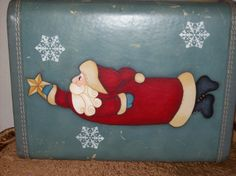 A cute little Santa on a vintage suitcase.....from a Mary Jo Tuttle pattern