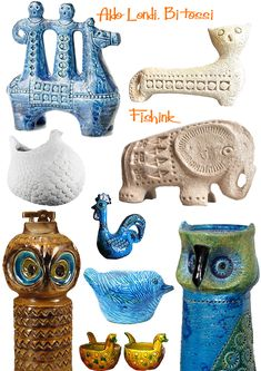 Aldo Londi Mid century ceramics for Bitossi Pottery Animals, Ceramic Animals, Vintage Pottery, Vintage Ceramic, Ceramic Pottery, Ceramic Art, Aldo, Ceramic Manufacturer, Italian Pottery