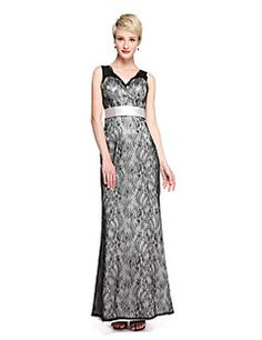 2017+Lanting+Bride®+Floor-length+Lace+See+Through+Bridesmaid+Dress+-+Sheath+/+Column+V-neck+with+Sash+/+Ribbon+–+USD+$+225.00