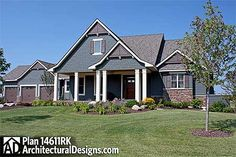 #houseplan 14611RK - master on main and 3 bedrooms below  4 beds 2.5 baths 4,200+ sq. ft.