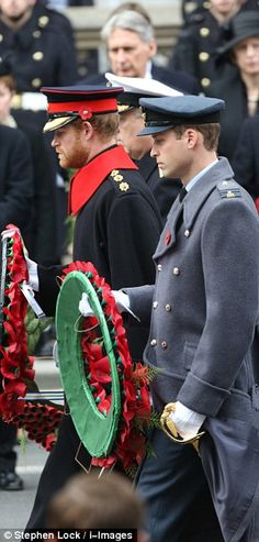 Prince William and Prince Harry at the Cenotaph, Whitehall, London - 8th November 2015