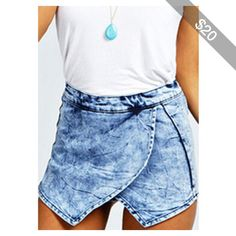 Rotita Zipper Closure Light Blue Asymmetric Denim Shorts
