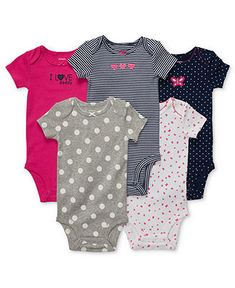 Carter's Baby Set, Baby Girls 5-Pack Short-Sleeved Bodysuits - Kids Newborn Shop - Macy's