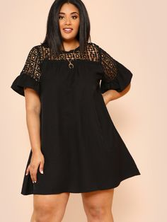 Shop Plus Guipure Lace Yoke Keyhole Back Dress online. SheIn offers Plus Guipure Lace Yoke Keyhole Back Dress & more to fit your fashionable needs. African Men Fashion, Africa Fashion, African Fashion Dresses, African Dress, Dress Plus Size, Dress Backs, Dresses Online, Plus Size Fashion, Fashion News