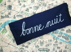 hand embroidered lavender eye pillow by Nathalie