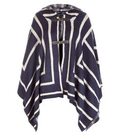 """Mela. On chillier days layer this cape over your outfit to keep warm and stay chic.- All over stripe design- Hooded style- Front buckle fastening- Casual fit- Model is 5'8""""/176cm and wears UK 10/EU 38/US 6"""
