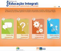 Guia de Políticas de Educação Integral: orientações para implementação no município.  Elaborado para auxiliar prefeitos e secretários de educação que pretendem implementar políticas de educação integral em seus municípios. ____________________________  Ano: 2013