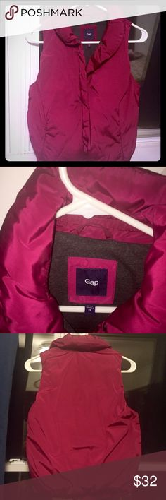 NWOT GAP Puffy Vest-Fab Color!! NWOT, Magenta-Colored, Puffy Vest. Size XS, will also fit a Size Small. Such an awesome Color & the vest is so warm & so cute (photos just dont do it justice) inside is lined in a Gray Soft Material! Always open to offers GAP Jackets & Coats Vests