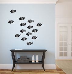 "School of Fish Vinyl Wall Decal 22x22 Home Decor by StickerHog, $16.99 14 fish ca. 7 x 4""Good colors"