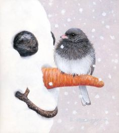 Sweet.  The little bird has picked the snowman's nose.