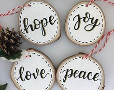 Items similar to White Wood slice ornaments -set of 4 on Etsy Christmas Wood Crafts, Noel Christmas, Christmas Signs, Rustic Christmas, Christmas Projects, Handmade Christmas, Holiday Crafts, Beach Christmas, Thanksgiving Crafts