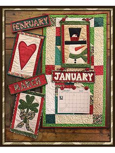 Stitch up 12 interchangeable calendars to celebrate each month in style and whimsy!   These pattern packs will make a lovely addition to your home decor throughout the year. With 3 months per pack, all celebrating a holiday or season within that period, from Christmas and Valentine's Day to Easter and the Fourth of July, your home will be a regular beacon of cheer and happiness! In each pack you will receive detailed instructions on how to create the unique mini wall quilt as well as the ...
