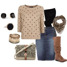 Jean Skirt, sweater-shirt with poka dots, and knee-length boots, a great way to wear a knee-length skirt during the fall