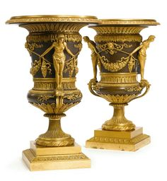 A pair of Russian Empire ormolu and patinated bronze vases, attributed to J. J. Baumann circa 1805.