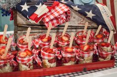 Who's ready for the of July? The of July is one of my favorite holidays. The entertaining ideas are endless, though I love sticking to some of my basics as Snickers Candy Bar, Jenny Cookies, 4th Of July Desserts, Blue Food Coloring, Cracker Jacks, Frozen Strawberries, Paper Straws, Party Drinks, Strawberry Shortcake